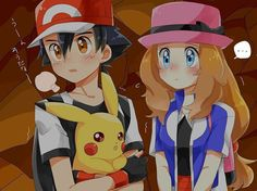 Ash and Serena with Pikachu too (Amourshipping) by WillDynamo55