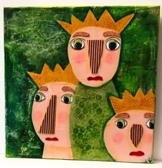 queens collage  ZOGGIE STYLE UNUSUAL UNIQUE OUTSIDER NAIVE FOLK ART PAINTING #FolkArtOUTSIDERNAIVE