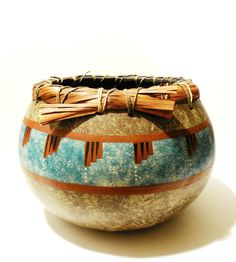 Handmade Tribal Earth Painted Gourd Art by ConsciousArtStudios (Home & Living, Home Décor, Baskets & Bowls, Gourd Art Bowl, Tribal Gourd Art, Earthy Decor, Decorative Bowl, Blessing Bowl, Gift Item, Painted Gourd, Tribal Decor, Gourd Art, Handmade, OOAK, Burnt Sienna, Woven Lacing)
