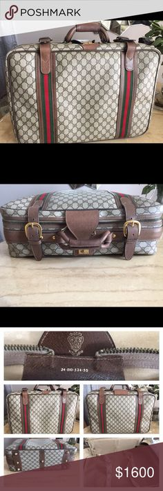 "Vintage Gucci Suitcase Pristine Condition Vintage Gucci Suitcase. This suitcase is in ""exceptional condition"". No rips, tears, frays, or exposed piping. The lock is no longer available. This is a ""Collectors"" dream piece. Gucci Bags Travel Bags"