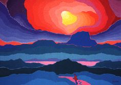 "Ted Harrison - ""Walking Alone"" beautiful abstract landscape Art And Illustration, 5th Grade Art, Arts Ed, First Art, Canadian Artists, Art Lesson Plans, Native Art, Art Classroom, Art Club"