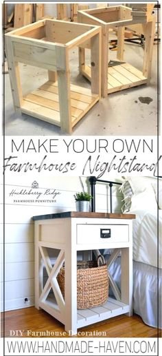 Farmhouse Nightstand Farmhouse nightstand plans that will give your bedroom a Joanna Gaines farmhouse vibe. These free DIY nightstand plans are an easy step-by-step tutorial on how to recreate a farmhouse nightstand for your home. Diy Wood Projects, Furniture Projects, Home Projects, Diy Furniture, Woodworking Projects, Furniture Making, Bedroom Furniture, Woodworking Bench, Sauder Woodworking