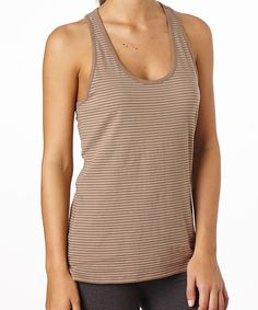 Women's Mocha Stripe Racerback Tank super soft with the perfect dash of sporty!  #FairTrade #organic #apparel