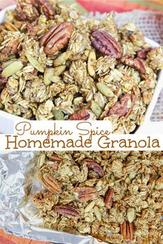 Pumpkin Spice Granola Recipe - The Best Homemade Granola made in the oven OR crock pot - slow cooker. Healthy pumpkin granola made with oatmeal, pumpkin puree, pumpkin pie spice, maple syrup or honey, pecans, and with pumpkin seeds. Clean eating and low sugar! The perfect fall snack for kids or adults. / Running in a Skirt #fall #pumpkinrecipe #pumpkinspice #slowcooker #crockpot #granola #healthyrecipe