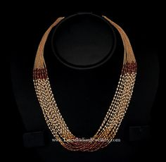 super trendy gold necklace studded with beaded rubies, emeralds and pearls in multiple chains of 22 carat gold in banded design from vbj Gold Bangles Design, Gold Jewellery Design, Bead Jewellery, Beaded Jewelry, Jewelery, Jewelry Necklaces, Pearl Chain, Pearl Beads, Gold Beads