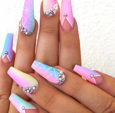 48 Acrylic Nail Designs Of Glamorous Ladies Of The Summer Season Acrylic Nail 10 Bright Acrylic Nails, Summer Acrylic Nails, Best Acrylic Nails, Bright Nail Art, Pastel Nails, Spring Nails, Summer Nails, Sky Nails, Fire Nails