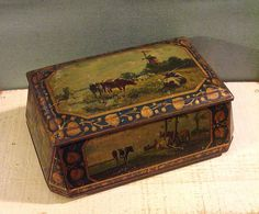 Beautiful Early European Tin with Cows in Pasture Scenes - Lovely Darkened Antique Patina circa 1910