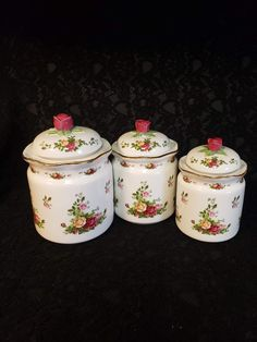 Royal Albert CANISTER SET, Set of 3, Country Roses, Made in England 1962, China Canisters with Lids, Charming Country Floral Farm, RARE Find China Storage, Country Rose, Wedding China, Surprises For Her, Storage Canisters, Elegant Dining, Canister Sets, Decorative Storage, Tea Sets