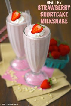 SUPER thick, rich and creamy Strawberry Shortcake Milkshake -- you'd never know it's totally guilt-free! (sugar free, low fat, high protein and gluten free)
