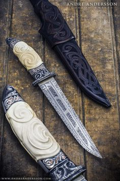 White carved custom knife