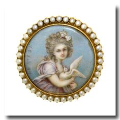 Inv. #13304  Signed A.C. Lalli Hand painted Portrait Brooch, 18k, c1890s. Lawrence Jeffrey Estate Jewelers