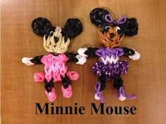 Rainbow Loom MINNIE MOUSE. Designed and loomed by MarloomZ Creations. Click photo for YouTube tutorial.