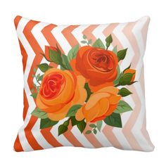 Decorate your home with decorative and throw pillows from Zazzle. Browse through pre-existing designs or create your own! Orange Throw Pillows, Pink Rose Bouquet, Silver Pillows, Coral Orange, Yellow, Designer Throw Pillows, Pillow Design, Custom Pillows, Chevron