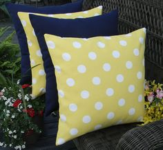 """Set of 4 - 20"""" x 20"""" Indoor / Outdoor Decorative Throw Pillows - 2 Yellow and White Polka Dot & 2 Solid Navy / Dark Blue Pillows"""