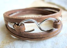 Infinity Mini  Brown Leather Wrap Bracelet by NearTheWillows, $18.00