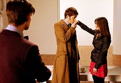 """Day of the Doctor. Oh how I wish I was Jenna Coleman. I like how the eyebrow flick from ten kinda states """"glad you found one to care for"""""""