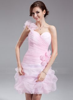 Homecoming Dresses - $129.99 - A-Line/Princess One-Shoulder  Short/Mini Organza Homecoming Dress With Ruffle Beading Flower(s) (022010199) http://jjshouse.com/A-Line-Princess-One-Shoulder-Short-Mini-Organza-Homecoming-Dress-With-Ruffle-Beading-Flower-S-022010199-g10199