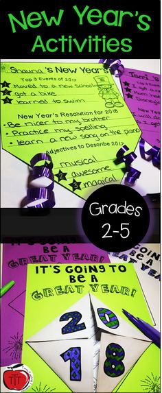 Here is everything you need to engage your students in New Year's activities the first week back after Christmas break! Perfect for Grades 2-5. Students will write resolutions, make words, work on math equations, and build a New Year's foldable poster! Created by TchrBrowne / Terri's Teaching Treasures