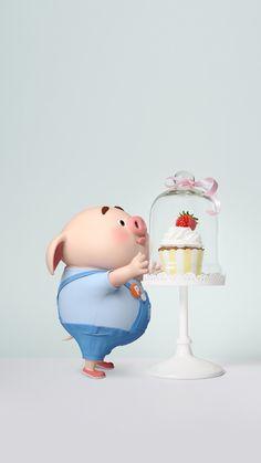 微博 Pig Wallpaper, Cartoon Wallpaper, This Little Piggy, Little Pigs, Cute Funny Pics, Cute Piglets, Happy Pig, Pig Drawing, Pig Illustration