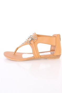 Tan Strappy Studded Thong Sandals Faux Leather
