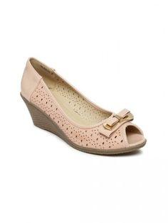 Addons women peach-coloured peep-toe wedges