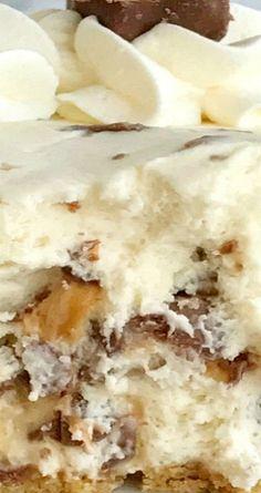 No Bake Snickers Cheesecake Cream Pie