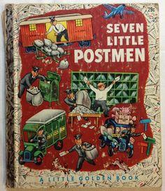 Seven Little Postmen by Margaret Wise Brown /  Little Golden Book (1952)