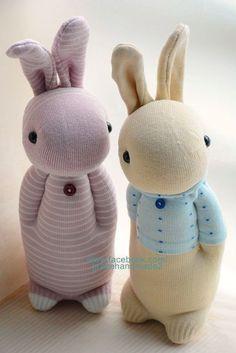 襪子娃娃271號暖男兔+272號粉紅條紋兔 (1)