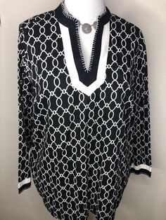 9e50bf6ddedf7d Tops · Womens Charter Club Black White Long Sleeve Tunic Top 1X  fashion   clothing  shoes