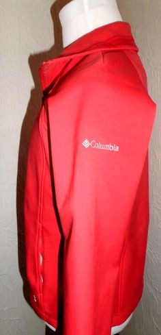 Women's Columbia Water~Proof Front Zip Omni-Shield Rain Sports Jacket EUC Coral #Columbia #Rainwear