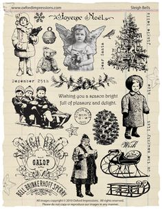 """The """"Sleigh Bells"""" rubber stamp collection by Oxford Impressions."""