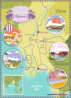 Map of Burma in Lonely Planet Traveller magazine (September issue, 2014) Illustrator: Alexandre Verhille.