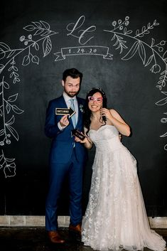 One of our favorite cute wedding photobooth ideas is a chalkboard wall! This bride and groom posed at their industrial wedding venue for this cute photo moment. Industrial Wedding Venues, Outdoor Wedding Venues, Chalkboard Wedding, Chalkboard Ideas, California Wedding Venues, Spring Wedding Inspiration, Wedding Trends, Wedding Ideas, Groom Poses