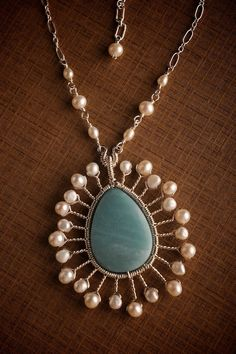 Silver Starburst Pendant Necklace w/ Aqua Blue Amazonite & White Pearl: Maya - Made to Order. $151.00, via Etsy.