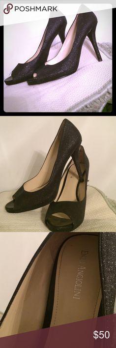 Enzo Angiolini peep toe heel size 10M Enzo Angiolini peep toe heels. Size 10z black glitter style. Great condition. Enzo Angiolini Shoes Heels