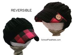 Buffalo check plaid reversible hat. Teen girl or girlfriend gift idea.....Kids fashion girls school outfit idea kids plaid custom handmade hats knit fashionable outfits for fall accessories Christmas gift ideas for her Cute Fall Fashion, Kids Fashion, Knitted Hats, Crochet Hats, Fall Accessories, Plaid Fabric, Buffalo Check, Gifts For Teens, Loom Knitting