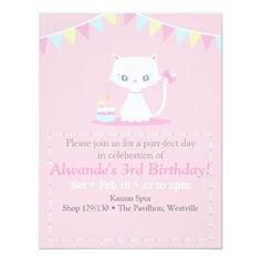 Cute White Kitty Cat Birthday Party Invitations