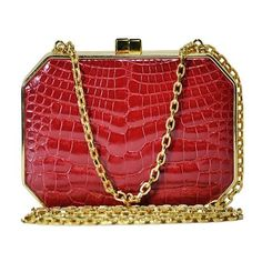 Judith Leiber - Crocodile Minaudiere Box Clutch - Red via Polyvore