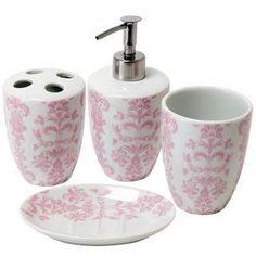 Pink And Grey Bathroom Accessories. Damask Porcelain Bathroom Set Pink  Vintage and grey bathroom I hate our master bath but this might help
