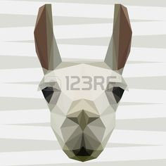 Abstract polygonal geometric llama portrait for use in design for card invitation poster banner plac Stock Vector