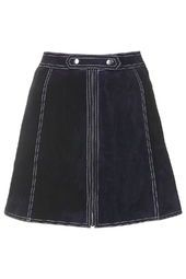 Suede Button Tab Skirt