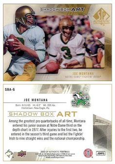 Joe Montana 2013 SP Authentic SBA-6 Shadow Box Art