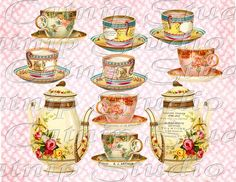 tea cups and tea pots collage sheet