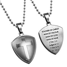 Shield of Faith Necklace, Soldier of Christ Man of God Bible Verse, Steel Chain
