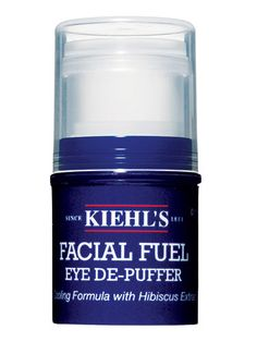 Kiehl's Facial Fuel Eye De-Puffer This long-time favorite is the ultimate unisex product. It's lightweight, cooling, and the caffeine and herbal extracts will get rid of dark circles and instantly wake you up!  RealBeauty.com