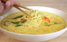 Ten Minute Coconut Curry Chicken Noodle Soup Ingredients:  1 Tablespoon sesame oil (or any other cooking oil, if you don't keep sesame on hand)  1 medium/large chicken breast, cut into small strips  2 Cups frozen stir fry vegetables   3/4 Tablespoon curry powder   1 can coconut milk, 15 ounces  30 ounces chicken stock  1 package plain Ramen noodles