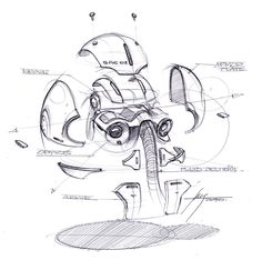 Exploded view sketch of a robotic head
