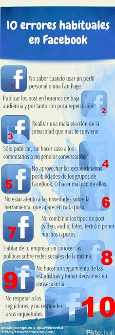 10 errores habituales en #Facebook #socialmedia #infografia