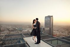 downtown los angeles rooftop high rise engagement photography, helicopter pad engagement photography