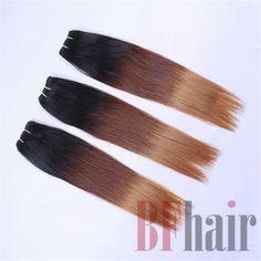 BF Hair Ombre Hair Extensions Three Tone 1B/4/27 Brazilian Virgin Hair Straight…